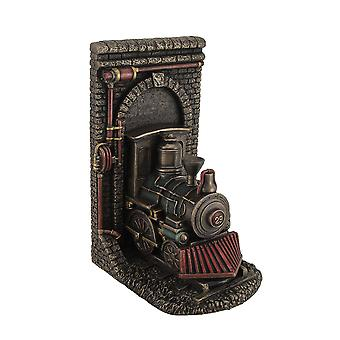 Steampunk Steam Locomotive Bronze Finished Single Bookend