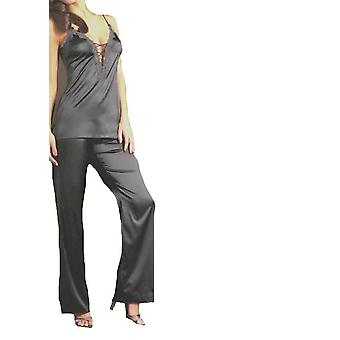 Triumph Teasing Temptation Deep V Neck Satin Style Pyjama Set Black