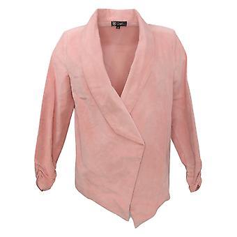 DG2 By Diane Gilman Damen Stretch Velvet Open Front Blazer Pink 680567