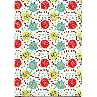 Children's Assorted Gift Wrap Sheets 50-70cm - Happy Bithday & Party Time