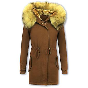 Long Winter Coat - With Faux Fur Collar - Brown