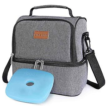Household storage containers 7l dual compartment insulated lunch bag with ice pack for adults/men/women/kids  water-resistant