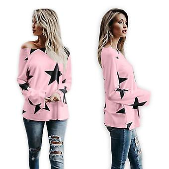 Regular Round Collar Stars Printed Long Sleeve Women Shirt Loose Casual Tee