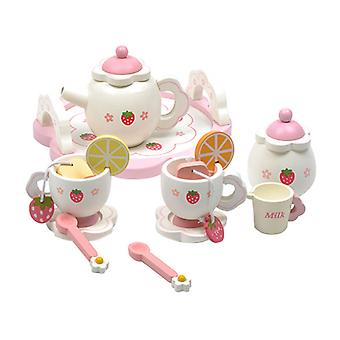 Wooden Mini Tea House Toy Set Cup Teapots Tray Kitchen Role Playing Game Girls