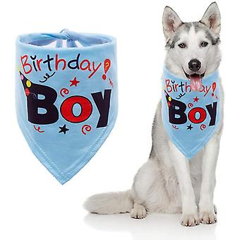 子犬の誕生日ターバンミディアムと大きなペット洗濯可能な犬の誕生日ターバンブルー