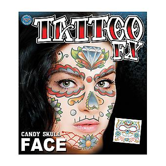 Candy Skull Face Day Of The Dead Senorita Mexican Women Costume Temporary Tattoo