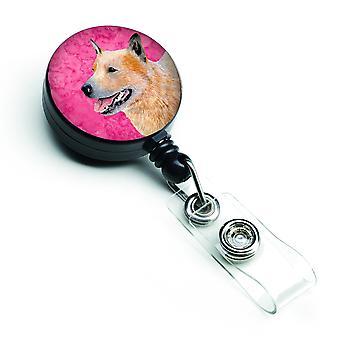 Rosa Australian Cattle Dog versenkbare Abzeichen Reel