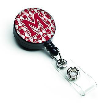 Literę M piłki nożnej Crimson, szary i biały bębnowa odznaka chowany