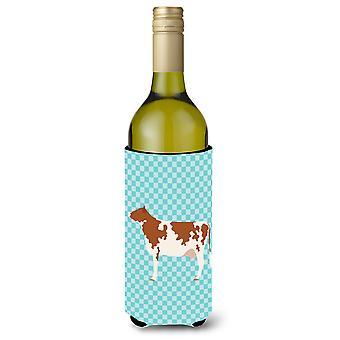 Ayrshire Cow Blue Check Wine Bottle Beverge Insulator Hugger