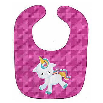 Carolines Treasures  BB6807BIB Pink Plaid Unicorn Baby Bib