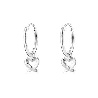 Heart - 925 Sterling Silver Ear Hoops - W32134X