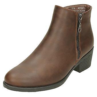 Ladies Spot On Mid Heel Ankle Boots F50736