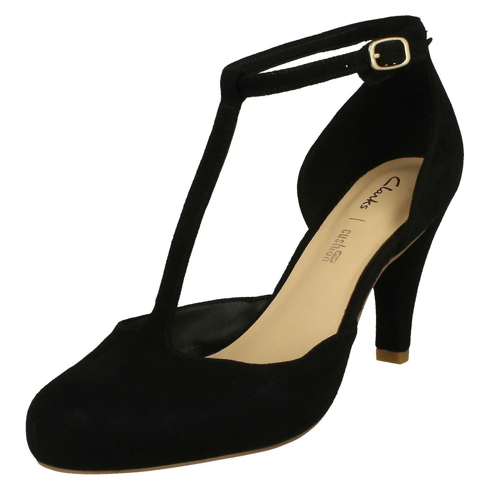 Sąd T-Bar Clarks damskie buty Dalia Tulip - czarny zamsz - UK rozmiar 8D - UE rozmiar 42 - USA rozmiar 10,5 M hL25a
