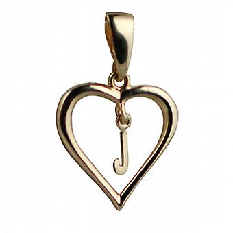 9ct Gold 18x18mm heart Pendant with a hanging Initial J