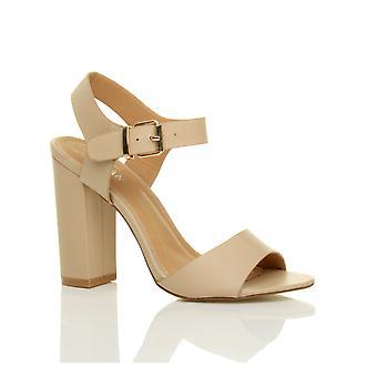 अजवनी महिला उच्च ब्लॉक एड़ी टखने का पट्टा बकसुआ झलक पैर जूते सैंडल