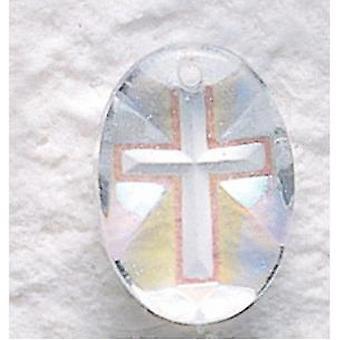 Aurora Borealis Oval Cross Kristallanhänger