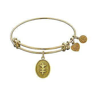 "Stipple Finish Brass Strength And Bravery Angelica Bangle Bracelet, 7.25"""