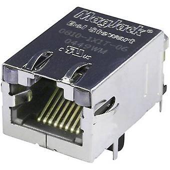 MagJack 10/100Base-TX 4 lähetin LED pistorasia, horisontaalisten mount 10/100Base-TX nastojen määrä: 8P8C nikkeli-pinnoitettu, metalli BEL Stewart liittimet