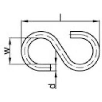 Gancho en S de TOOLCRAFT 25 mm acero electrocincados 100 PC