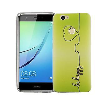 Handy Hülle für Huawei Nova Cover Case Schutz Tasche Motiv Slim TPU + Panzer Schutz Glas 9H Be Happy Grün