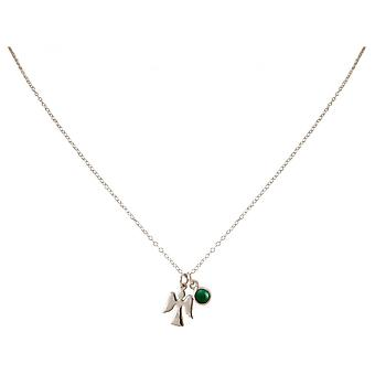 Ladies - necklace - pendants - Angels - guardian angel - 925 Silver - emerald - green - 1.3 cm