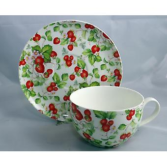 English Bone China Large Cup & Saucer Strawberries