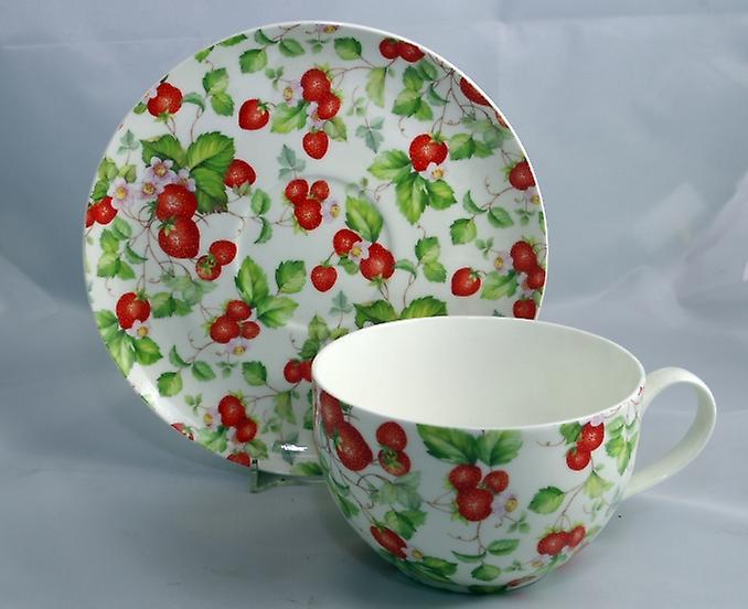 English Bone China Large Cup & Saucer Strawberries