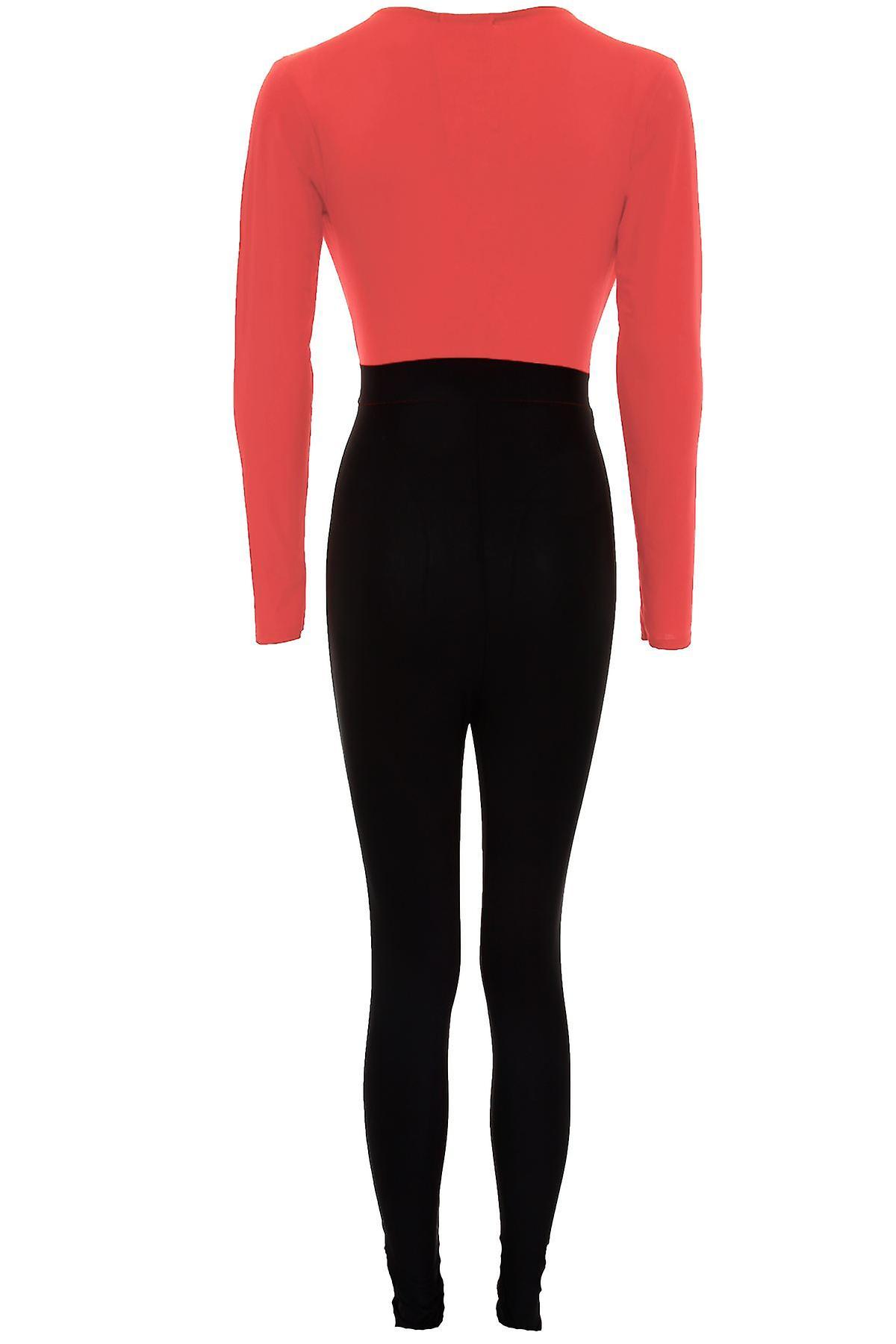 Ladies Long Sleeve Plunge V Neck Buckle Contrast Women's Jumpsuit Trousers