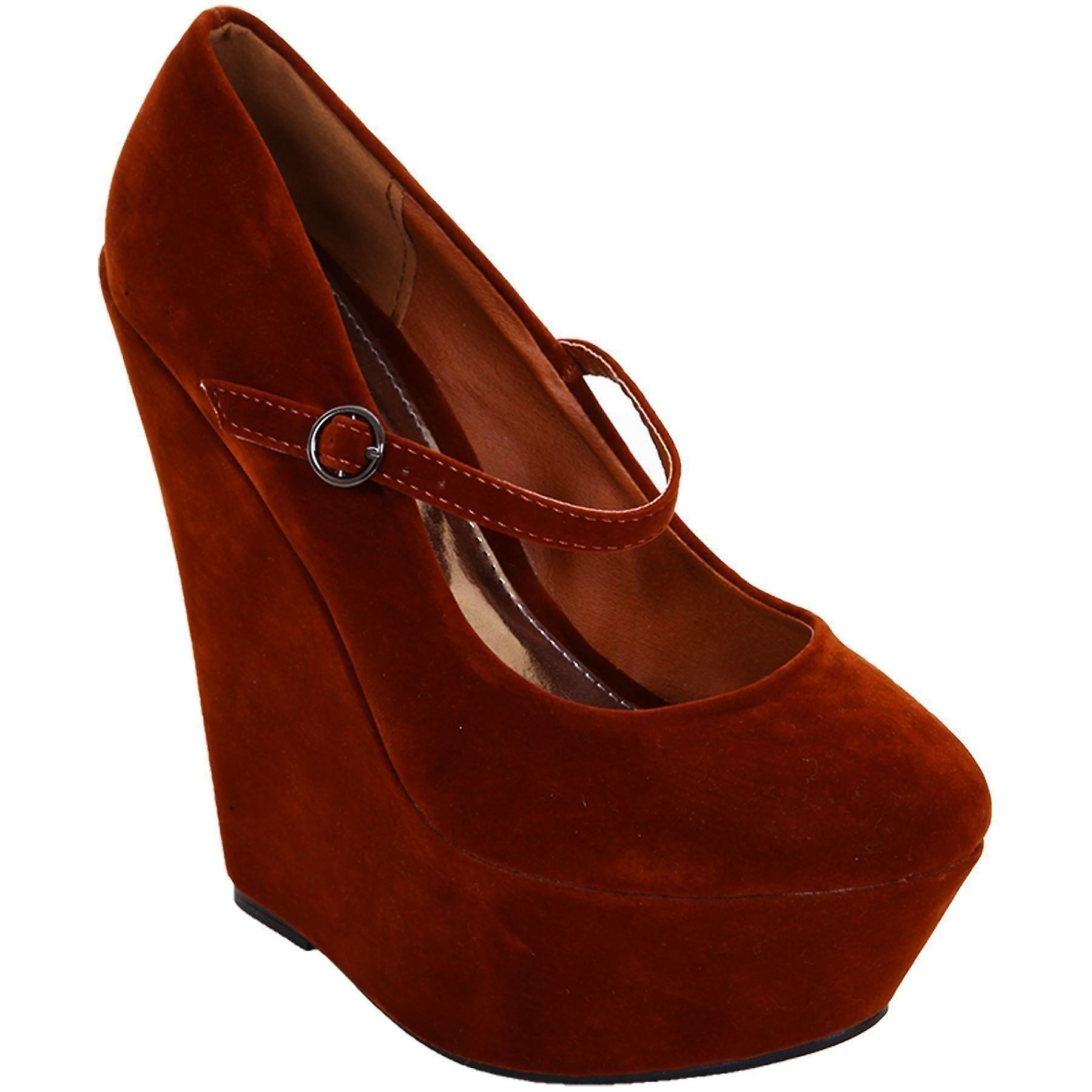Ladies High Wedge Suede Shoes Women's Ankle Strap Party Platform Wedges