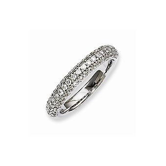 925 Sterling Silver Pave Polished Prong set Rhodium plated Rhodium Plated With CZ Cubic Zirconia Simulated Diamond Ring