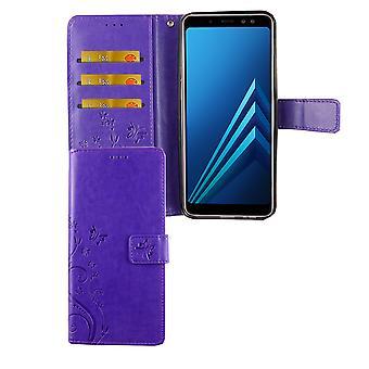 Samsung Galaxy A6 + plus 2018 mobila case väska täcker Flip case fack violett