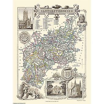 Karta över Gloucestershire 1836 av Thomas Moule 1000 bit pussel (jhg)