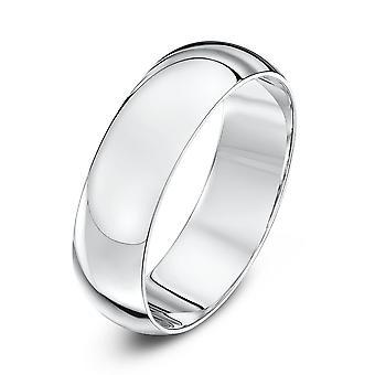 Anéis de casamento estrela 9ct ouro branco pesado D forma 6mm anel de casamento
