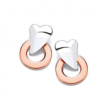 Cavendish French Silver and Copper Ring and Heart Earrings