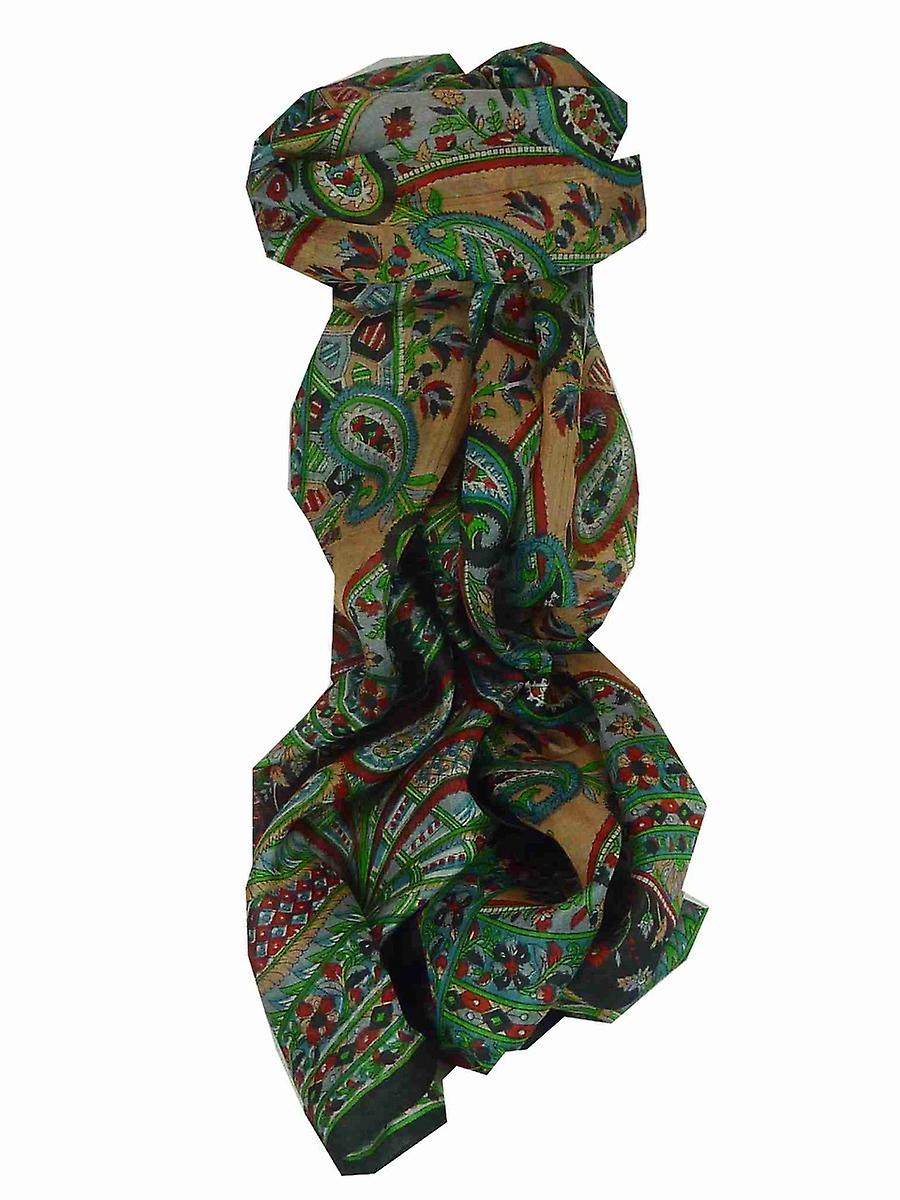 Mulberry Silk Traditional Long Scarf Chamba Black by Pashmina & Silk