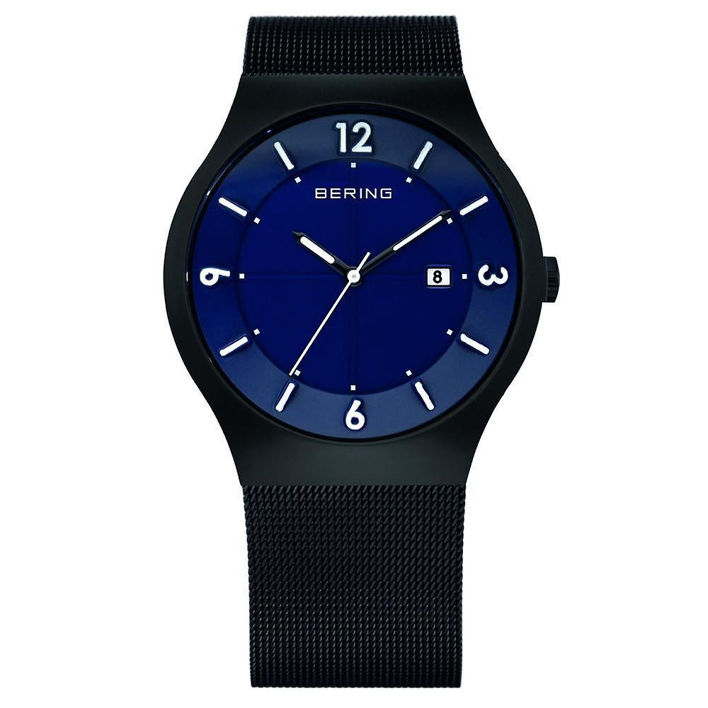Bering Solar Black Black Milanese Strap Mens Watch 14440-227 40mm