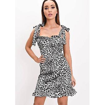 Franje Hem Leopard Print satijnen stropdas riem Cup Detail Skater jurk grijs