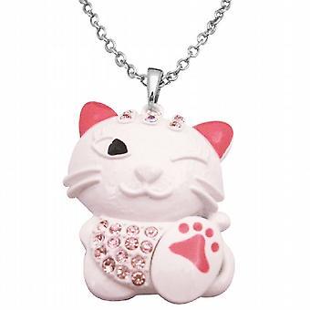 HipHop-Cat Anhänger Halskette weiße Katze Fuchsia Kristall-Anhänger Halskette