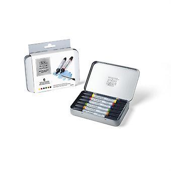 Winsor & Newton Water Colour Marker Tin Set (6 Pc)
