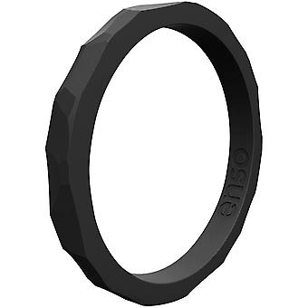 Enso Ringe gehämmert Stackables Serie Silikon-Ring - Obsidian