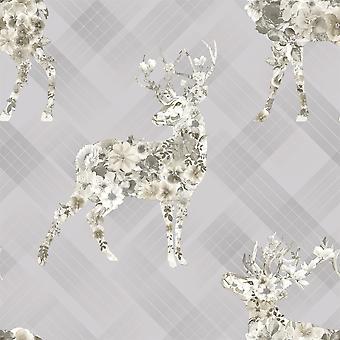 Elk Floral Check Wallpaper Stag Tartan Flowers Animal Print Grey Pink Beige