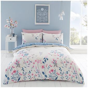 Emma naturlige trykt blomstret dyne Quilt dækning Reversible moderne sengetøj sæt