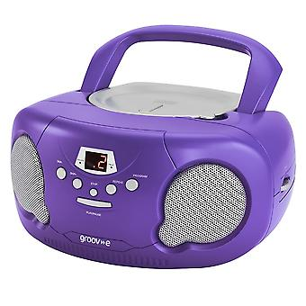 Groov-e Boombox Portable CD Player with Radio/Aux In/Headphone Purple GVPS733PE