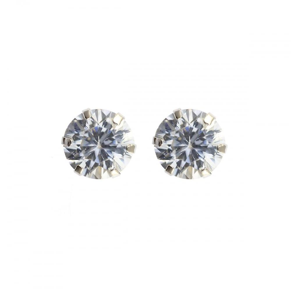 Eternity 9ct White Gold Round Cubic Zirconia Stud Earrings