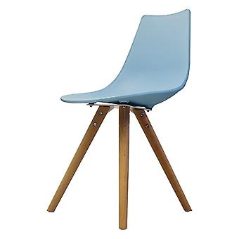Fusion Living Iconic Blue Plastic Dining Chair With Light Wood Legs