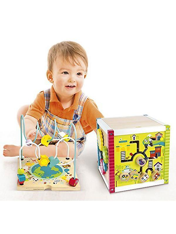 Leomark Wooden Bead Maze Activity Cube with Abacus
