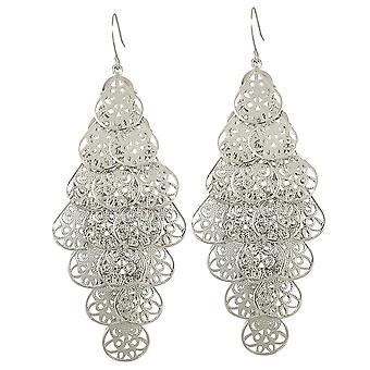 Eternal Collection Filigrana Chandelier Silver Tone Drop Pierced Earrings