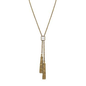 Eternal Collection Kensington Clear Crystal Gold Tone Stainless Steel Tassel Lariat Necklace