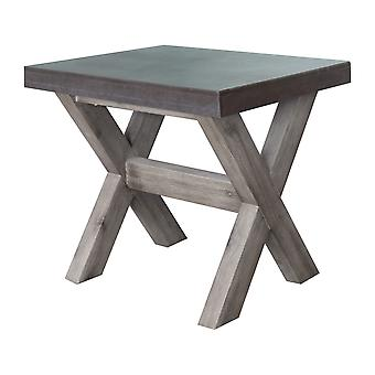 Charles Bentley Fibre Cement & Acacia Wood Industrial Indoor Outdoor Garden Seating Stool - Grey with white washed wooden legs