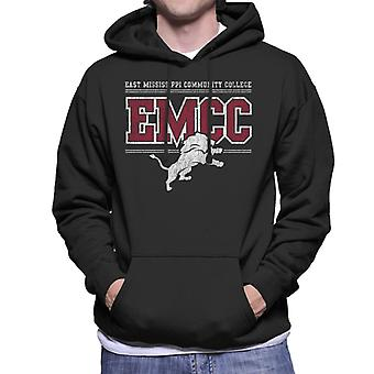 East Mississippi Community College Light Distressed Lion Logo Men's Hooded Sweatshirt
